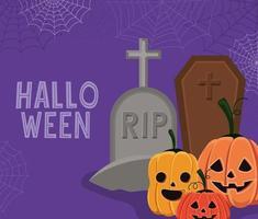 tarjeta de halloween con calabazas, ataúd y lápida vector