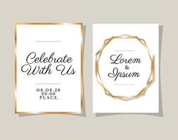 Two wedding invitations with gold frames vector design