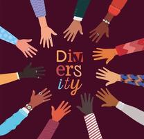 diversity concept with interracial hands in a circle vector