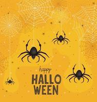 dibujos animados de arañas de halloween con diseño vectorial de telarañas vector