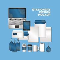 Stationery full pack mockup design vector