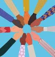 diversity concept with interracial hands together vector