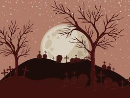 Fondo de halloween con escena de cementerio en la noche vector