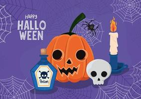 Halloween pumpkin and skull with spiderwebs frame vector design