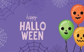 Globos de calabaza de halloween con diseño vectorial de telarañas vector