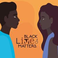 Black woman and man profile picture for black lives matters vector