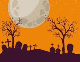 Halloween background with cemetery scene at night vector