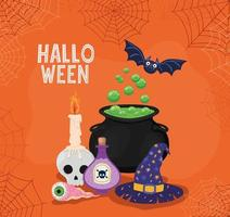 Halloween witch cauldron, hat and poison with spiderwebs frame vector design
