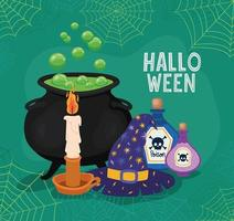 Halloween witch cauldron, hat, candle and poison with spiderwebs frame vector design