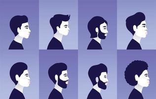 Diverse men profiles in blue frames vector