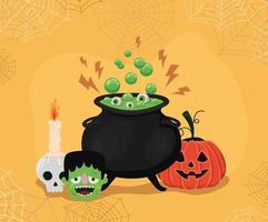 Halloween pumpkin and witch cauldron with spiderwebs frame vector design