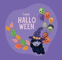 Halloween witch cartoon with leaves and balloons vector design