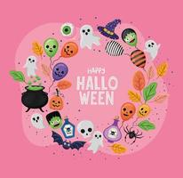 Halloween balloons and ghosts in circle shaped vector design