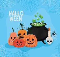Halloween pumpkins and witch bowl with spiderwebs frame vector design