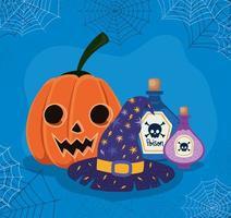Halloween pumpkin, witch hat and poison with spiderwebs frame vector design