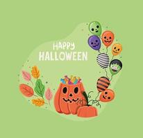 Halloween pumpkin with candies leaves and balloons vector design