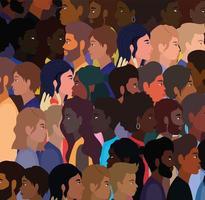fondo de personas de dibujos animados diversos vector