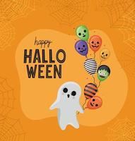 Halloween ghost with balloons vector design