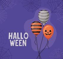 Globos de halloween con diseño vectorial de telarañas vector
