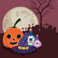 Halloween pumpkin and poisons in front of cemetery vector design