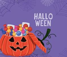 calabaza de halloween con caramelos y telarañas diseño vectorial vector