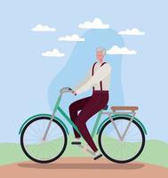 hombre de la tercera edad en bicicleta vector
