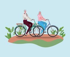 Senior citizen couple riding bikes vector design