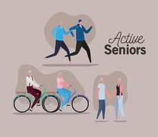 parejas de ancianos activos haciendo actividades.