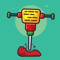jackhammer construction tool isolated cartoon vector illustration in flat style