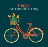 Happy St. David's Day card with bike and daffodils. Vector illustration.