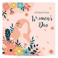 International women's day background. Sale banner template. Vector illustration. Girl with flowers.