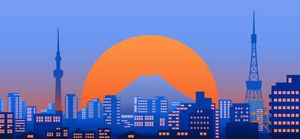 Tokyo city view at dusk or night with sunset on background, landscape vector illustration