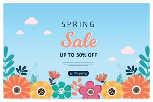 Hello spring sale banner with blossom bloom. Sale banner. Vector illustration. Hand drawn.