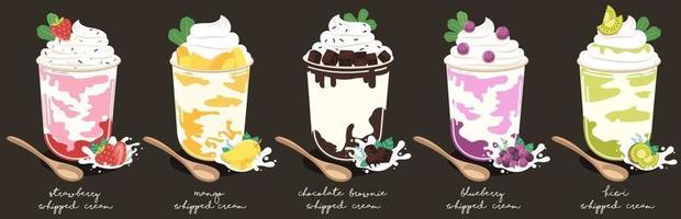 dessert of whipped cream and fruits berries in plastic cups isolated on black background. vector