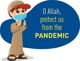 Muslim Boy Praying, Protect us from the Pandemic Coronavirus vector