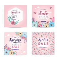 Collection spring sale template with blossom flowers beautiful. Sale banner. Spring sale social media post. vector