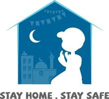 Ramadan Kareem Coronavirus Greeting, Stay Home Stay Safe vector