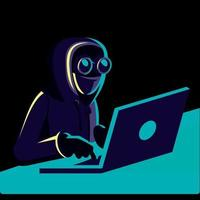 Online work. Online search. Hacker, Cybersecurity Concept vector