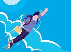 Business idea. Business plan. Business strategy concept with man flying in sky vector