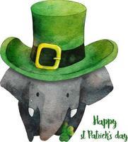 elefante con sombrero para el día de san patricio. vector de ilustración acuarela.