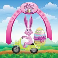 Easter greetings with bunny riding a scooter carrying a decorated egg vector