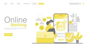 Online Banking and Mobile Payment. Landing page in Flat Style. vector