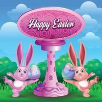 Easter greetings with happy dancing bunny vector
