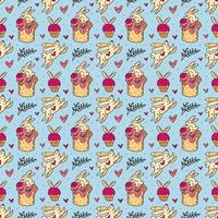 Easter holiday seamless pattern, texture, background. Rabbits, cakes, muffins, herbs and hearts. Children packaging design, paper. Isolated on light blue backdrop.