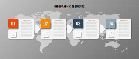 Plantilla de elementos infográficos, concepto de negocio con 4 opciones. vector