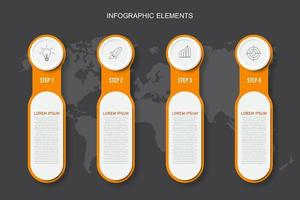 Plantilla de elementos de infografía naranja, concepto de negocio con 4 opciones vector