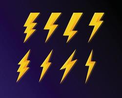 Thunder and bolt icon 3d style