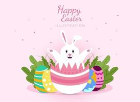 Happy Easter Typographical greeting card Background with With Rabbit And Eggs vector