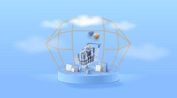 carrito de compras en el escenario o podio para presentación de productos o escaparate sobre fondo cian. ilustración vectorial. vector