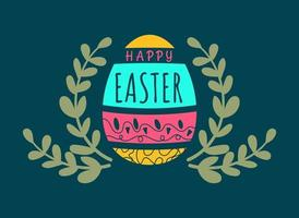 Fondo de tarjeta de felicitación tipográfica feliz pascua con huevo vector
